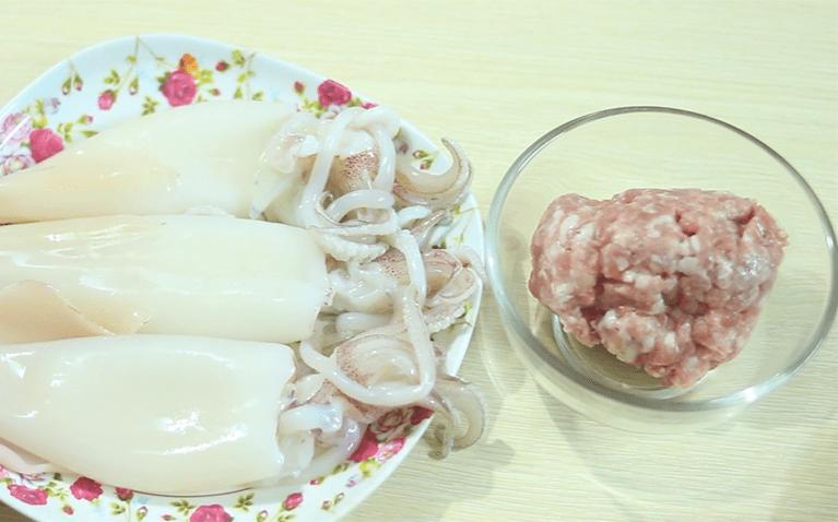 mực nhồi thịt