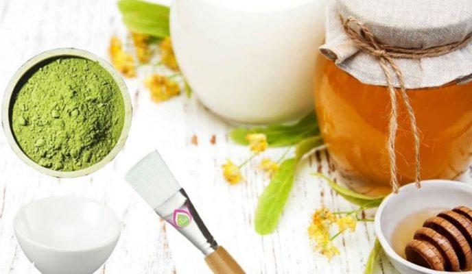 đắp mặt nạ trà xanh với mật ong